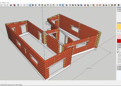 Akimirkos iš 3D užsiėmimų. Namo mūro darbų planas.
